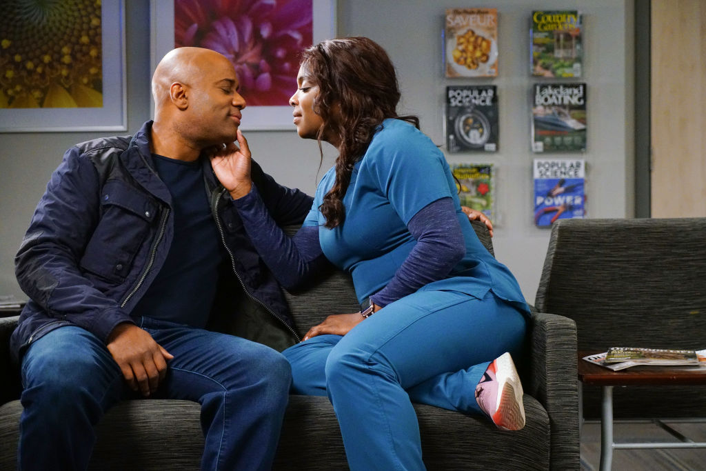 (l-r) Charles Malik Whitfield as Ben Campbell, Marlyne Barrett as Maggie Lockwood on 'Chicago Med'