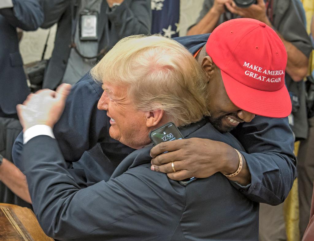Donald Trump and Kanye West hugging