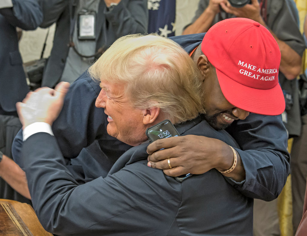 Donald Trump and Kanye West hugging