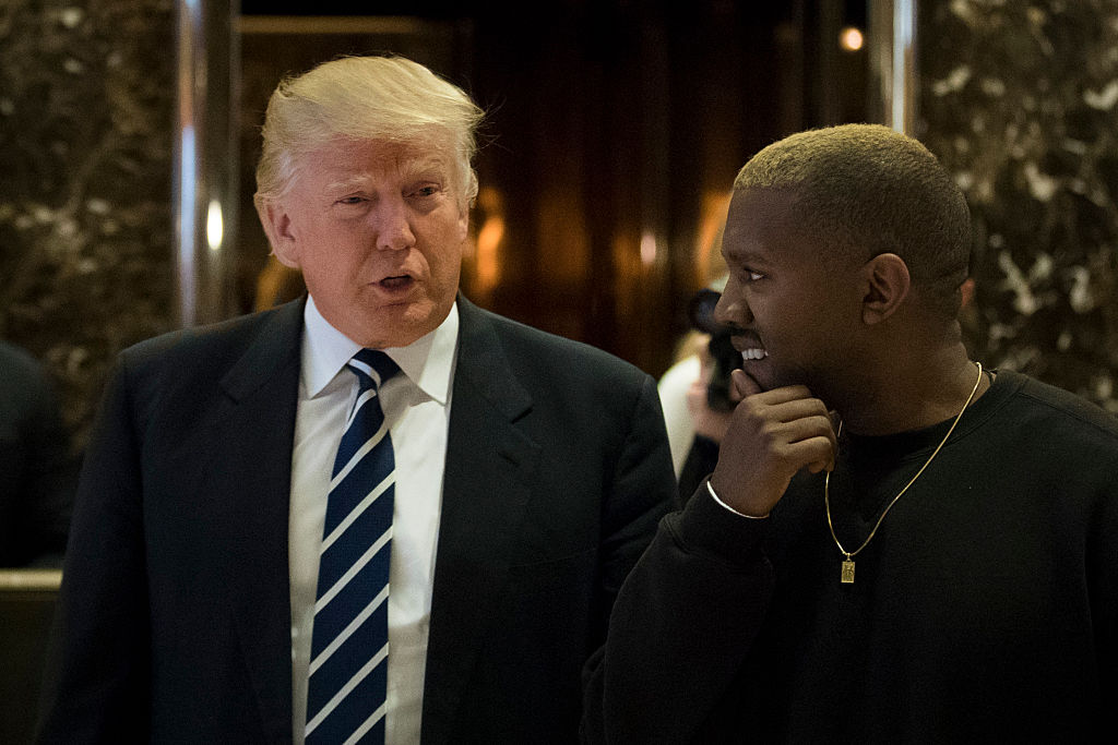 Donald Trump and Kanye West at a meeting in December 2016