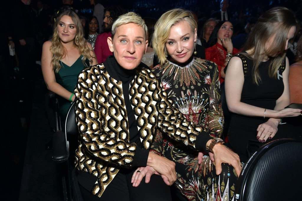 Ellen DeGeneres and Portia de Rossi attend the 62nd Annual GRAMMY Awards