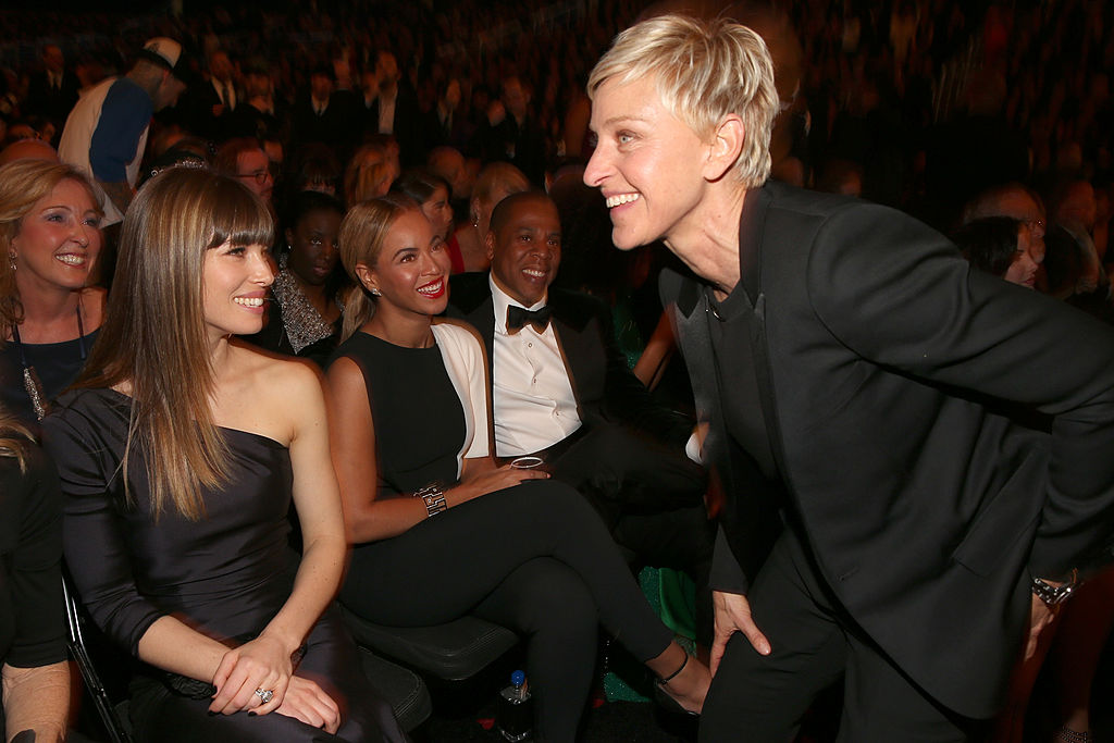 Actress Jessica Biel, singers Beyonce, Jay-Z and television personality Ellen DeGeneres attend the 55th Annual GRAMMY Awards