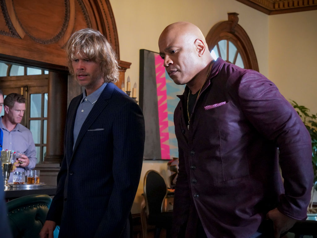 Eric Christian Olsen and LL Cool J on the set of NCIS Los Angeles