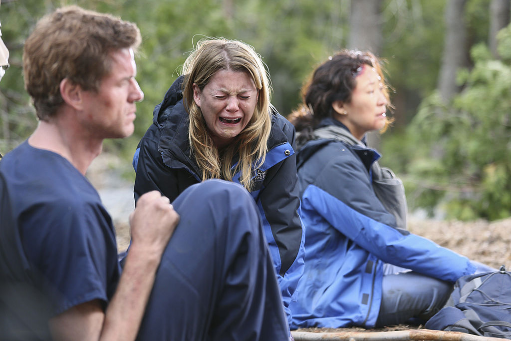 "Eric Dane as Mark Sloan, Ellen Pompeo as Meredith Grey, and Sandra Oh as Cristina Yang on ABC's ""Grey's Anatomy"" - Season Eight"