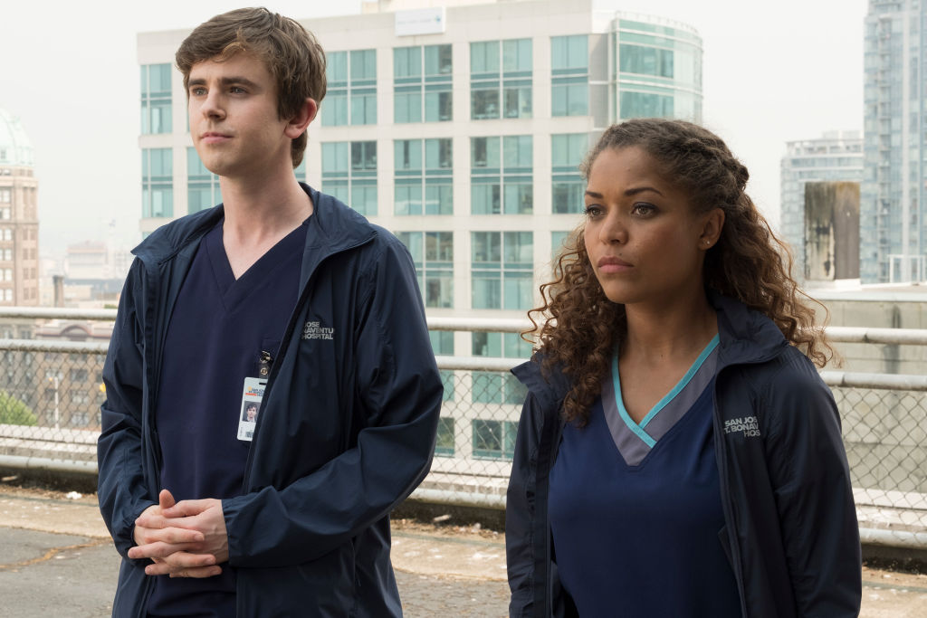 Freddie Highmore and Antonia Thomas on the set of The Good Doctor | Jeff Weddell/Walt Disney Television via Getty Images