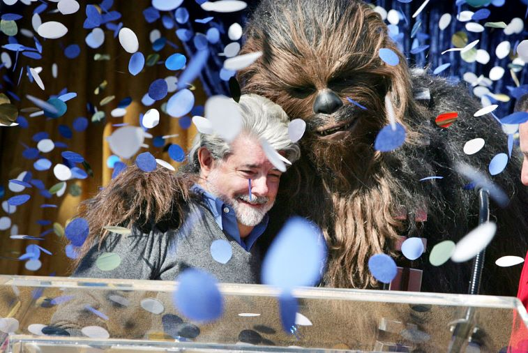 'Star Wars' George Lucas and Chewbacca