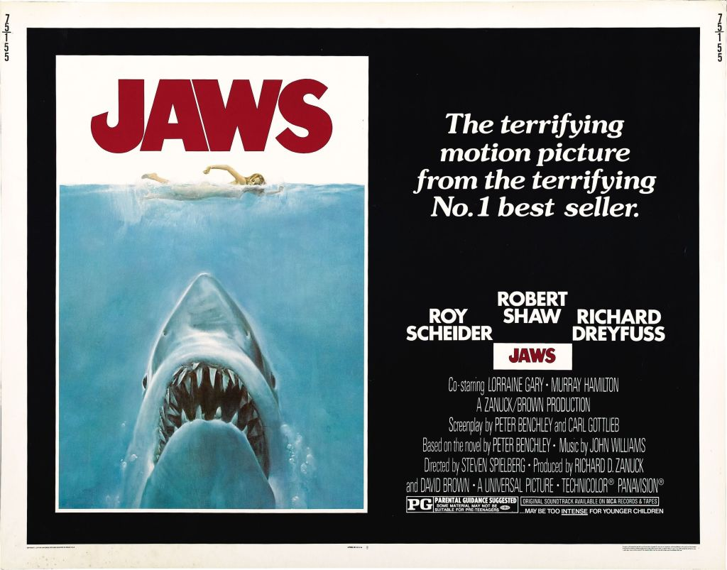 Promotional poster for 'Jaws,' 1975