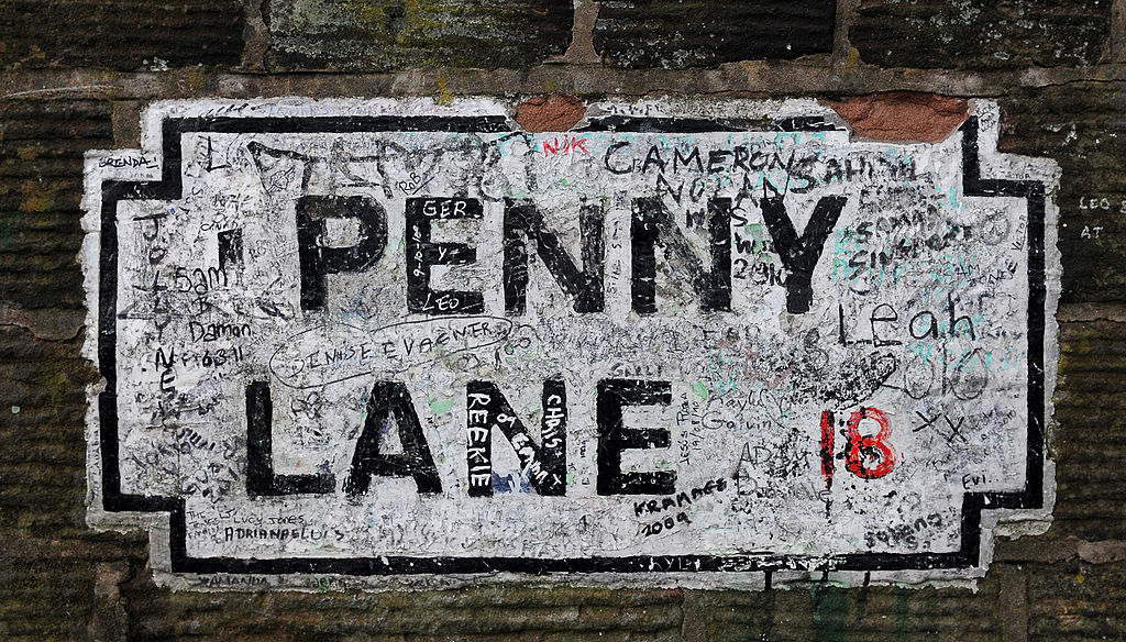 A street sign for Penny Lane in Liverpool, England