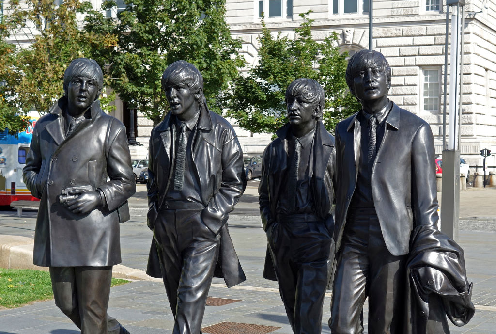 Statues of the members of The Beatles in Liverpool, England