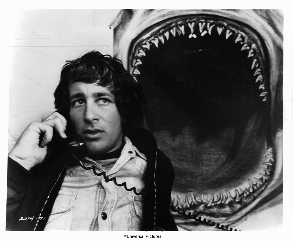Steven Spielberg on the set of 'Jaws', 1975