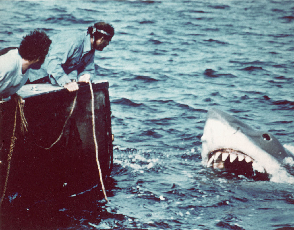 Richard Dreyfuss (left) and Robert Shaw in a scene from director Steven Spielberg's 1975 film, 'Jaws'