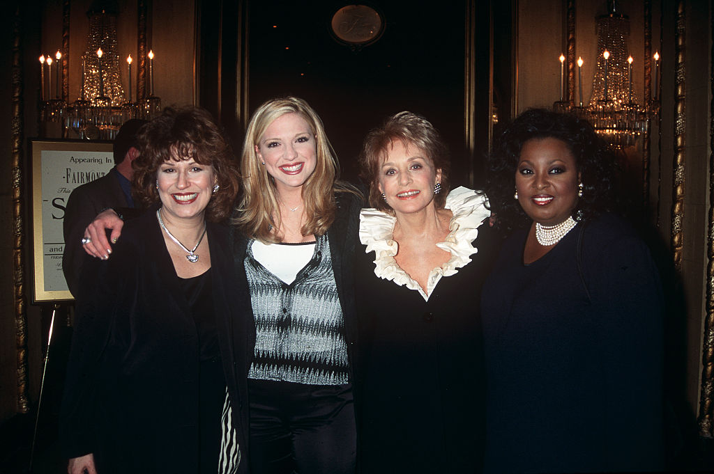 'The View' panelists of 1998 USA: Joy Behar, Debbie Matenopoulos, Barbara Walters, and Star Jones: Joy
