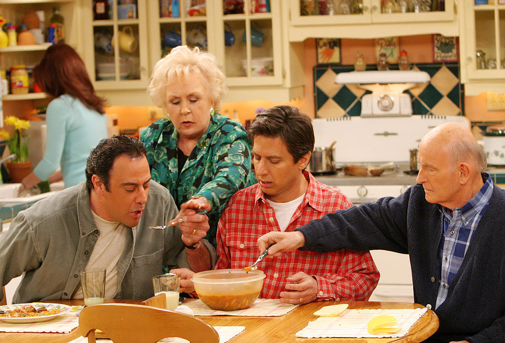 Brad Garrett as Robert Barone, Doris Roberts as Marie Barone, Ray Romano as Ray Barone, Peter Boyle as Frank Barone and Patricia Heaton as Debra Barone