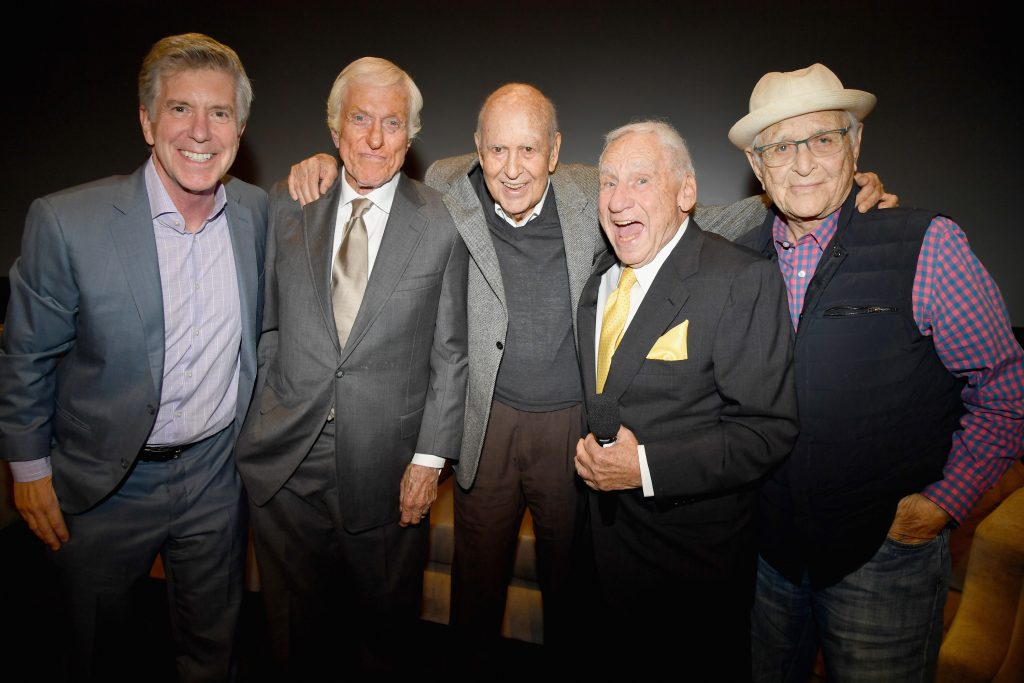 Carl Reiner (center) with (from left) Tom Bergeron, Dick Van Dyke, Mel Brooks, and Norman Lear in 2017