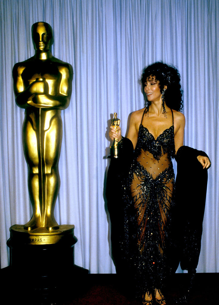 Cher with her Best Actress Oscar for 'Moonstruck'