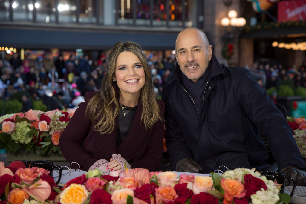 Savannah Guthrie and Matt Lauer hosting the 2017 Thanksgiving Day Parade, just days before his firing