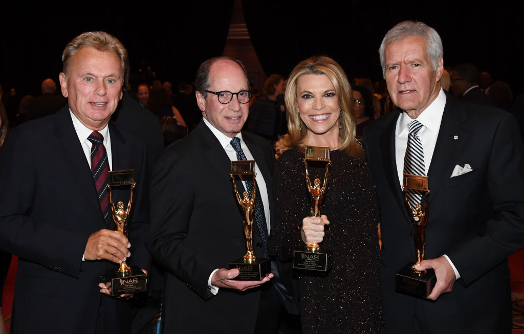 Pat Sajak, Alex Trebek, executive producer Harry Friedman, and Vanna White at the National Association of Broadcasters Broadcasting Hall of Fame in 2018