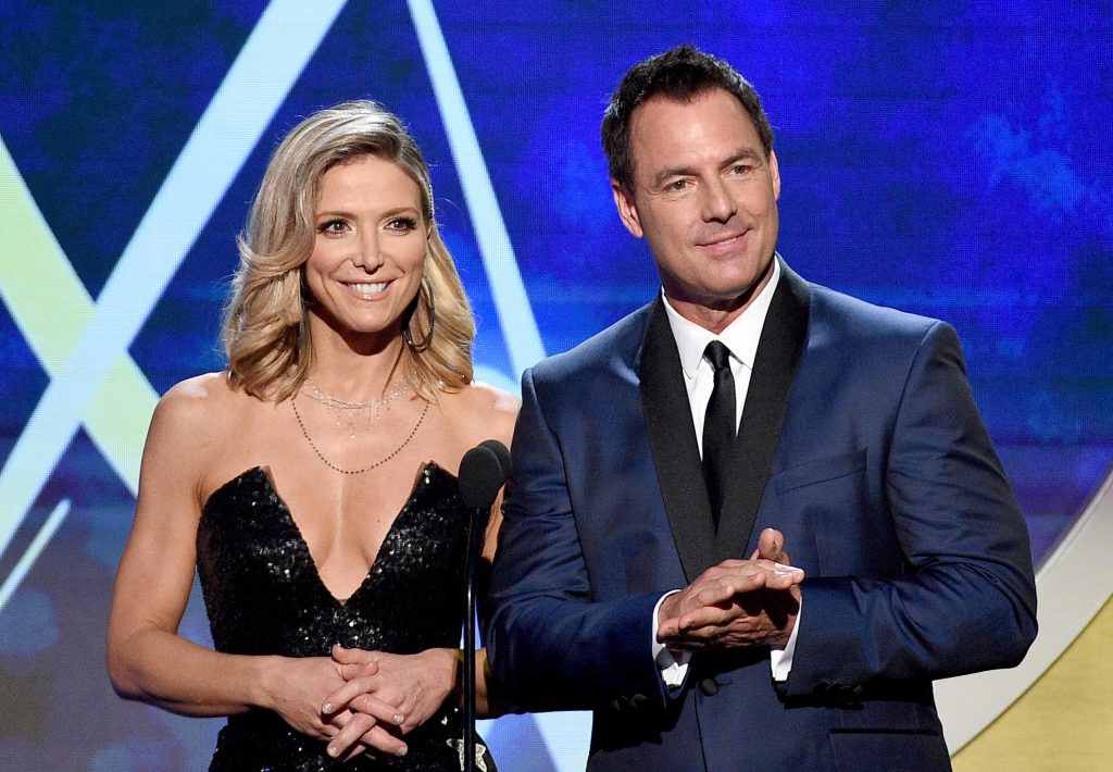 Mark Steines (right) and his former 'Home and Family' co-host Debbie Matenopoulos in 2018