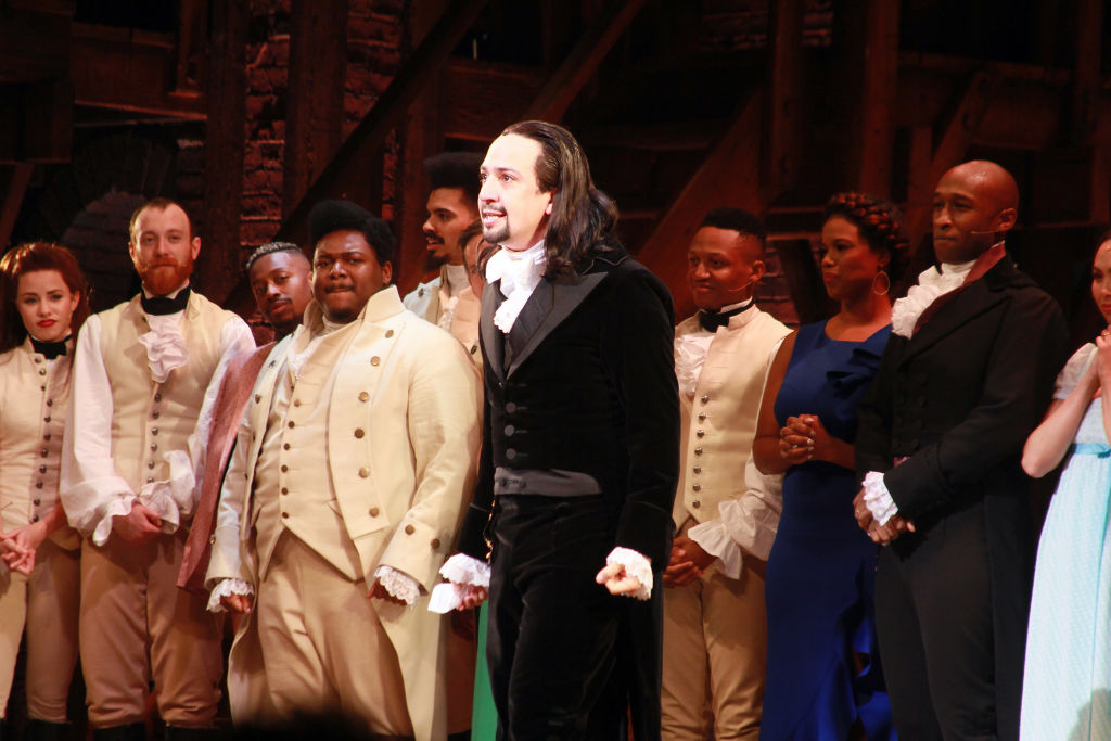Lin- Manuel Miranda with the cast of 'Hamilton'