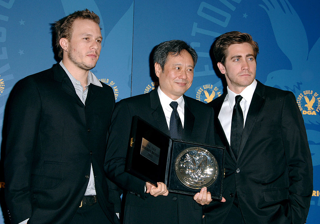 Heath Ledger, Ang Lee, nominee Outstanding Directorial Achievement in Feature Film for 'Brokeback Mountain,'  and Jake Gyllenhaal during the 58th Annual Directors Guild of America Awards