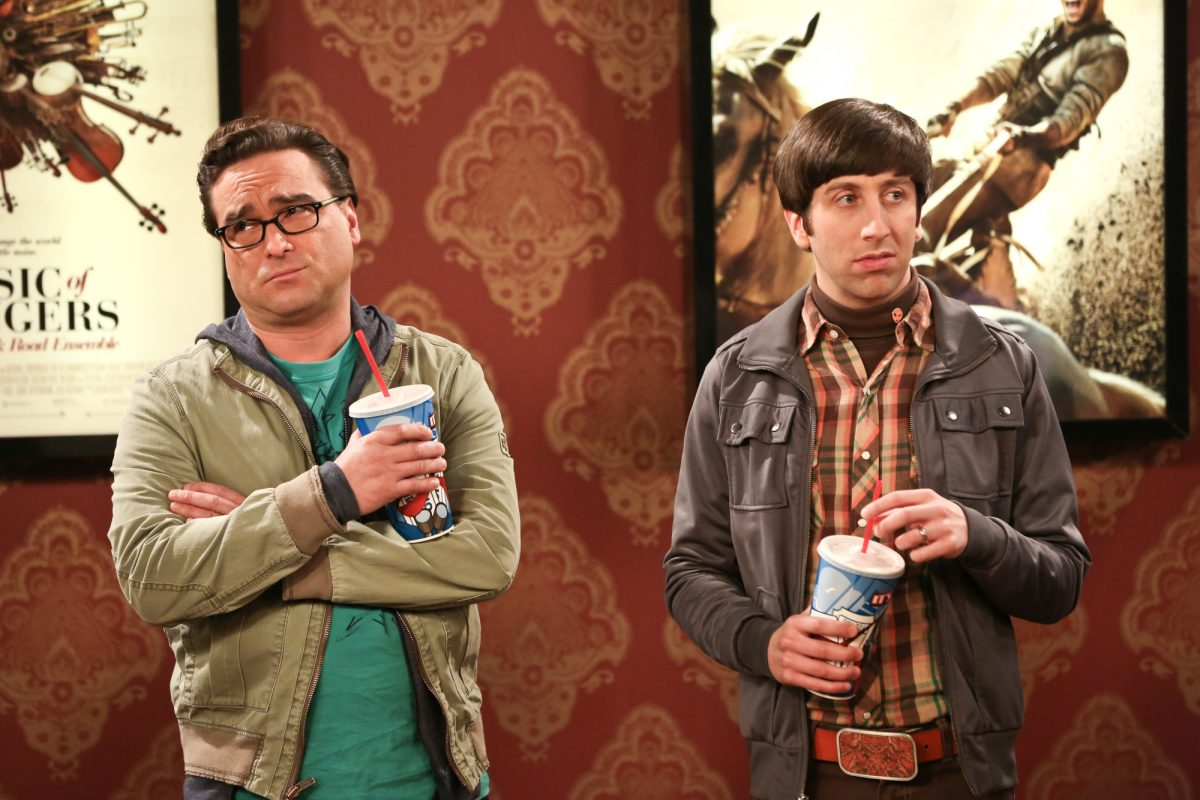 Leonard Hofstadter and Howard Wolowitz at a movie theater