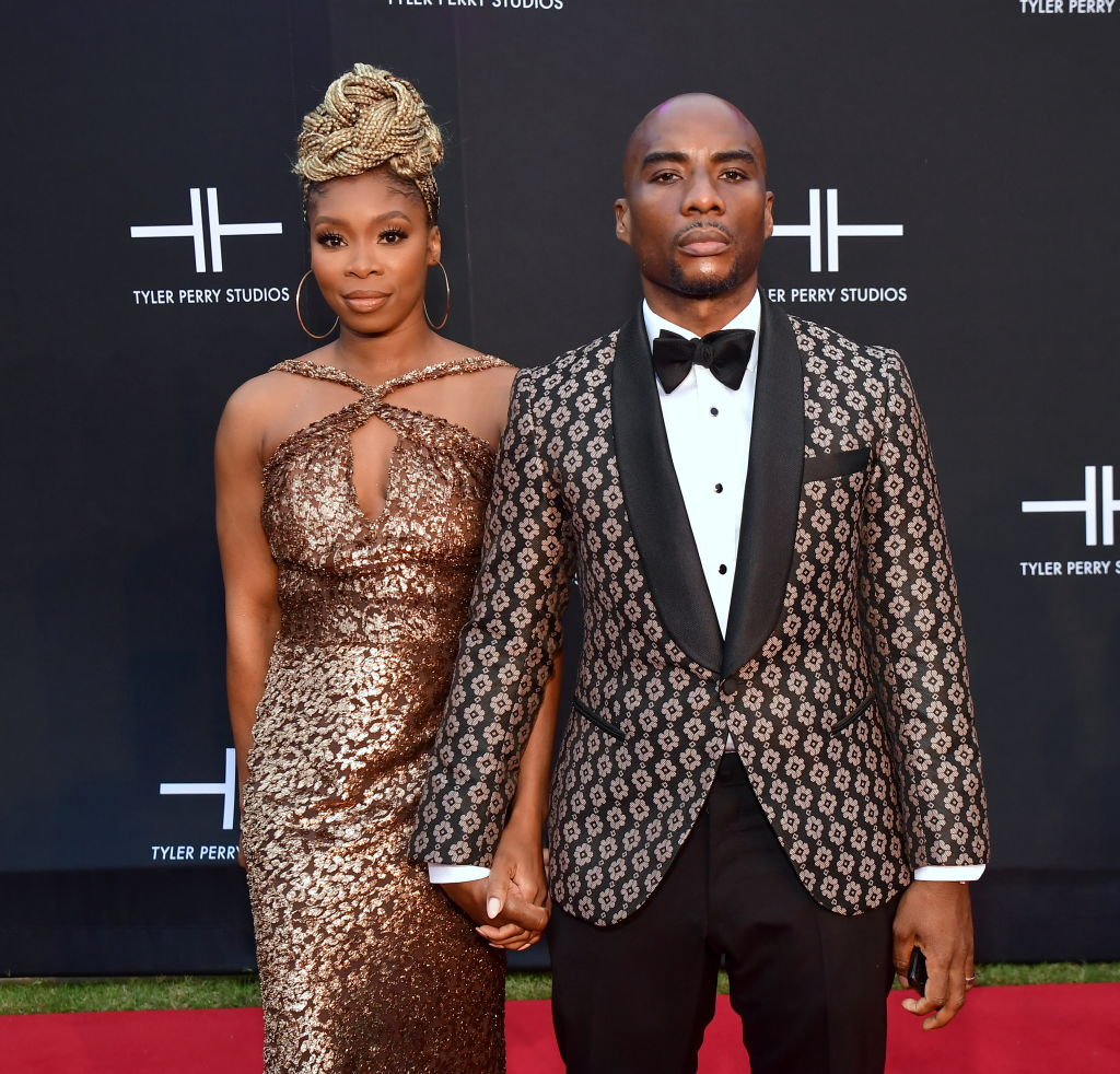 Jessica Gadsden and Charlamagne Tha God at an event