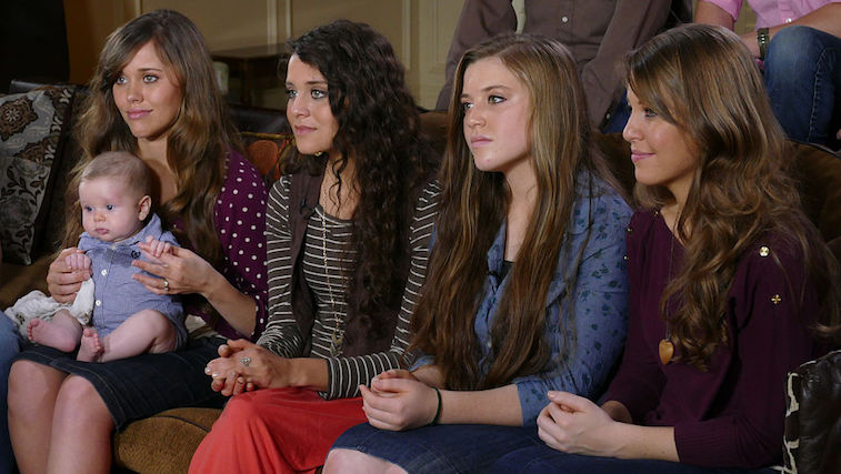 Joy Duggar, second from right, alongside three of her older sisters.
