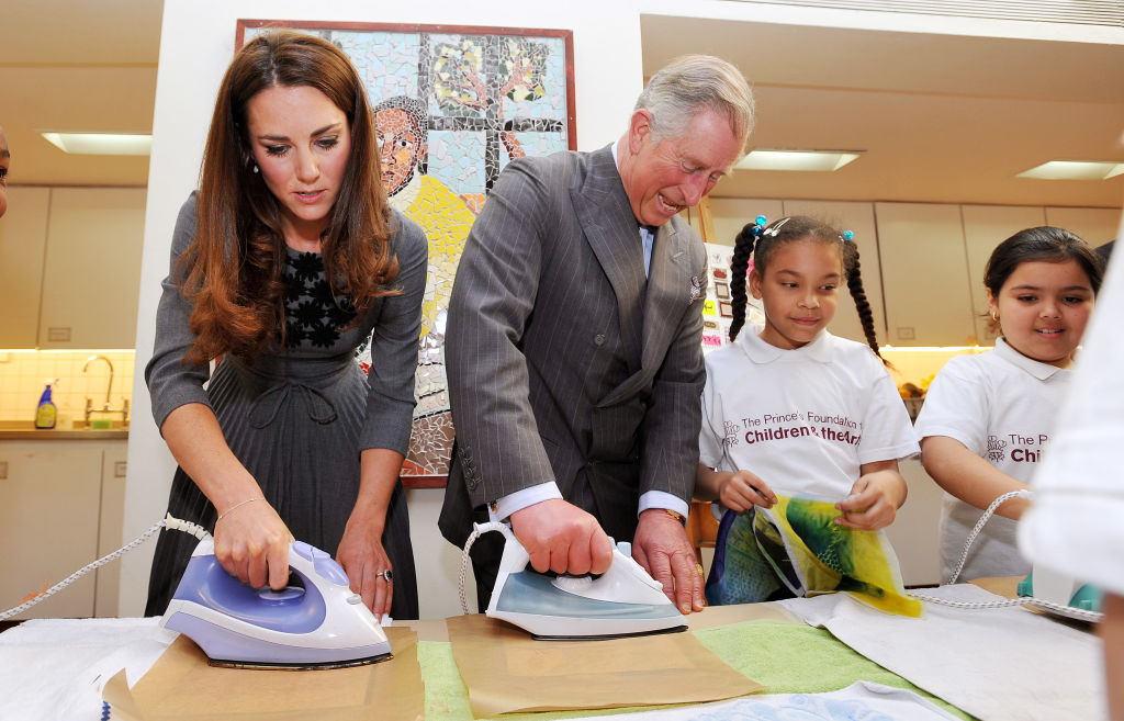 Catherine, Duchess of Cambridge and Prince Charles, Prince of Wales iron artwork produced on silk during a visit to the Dulwich Picture Gallery on March 15, 2012 in Dulwich, south London, Englad. The Duchess of Cambridge joined her parents-in-law Prince Charles, Prince of Wales and Camilla, Duchess of Cornwall on a royal visit to the gallery to celebrate their shared love of the arts and see work done by the Prince's Foundation for Children and the Arts