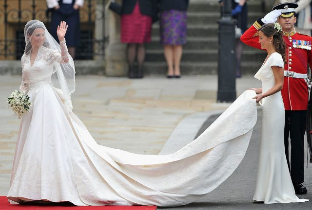 Kate Middleton arrives at her and Prince William's royal wedding with Pippa Middleton
