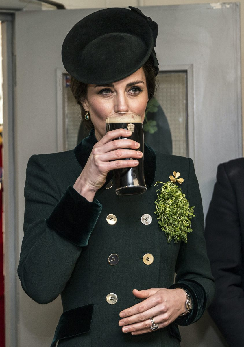 Kate Middleton takes a sip of Guinness at a St. Patrick's Day Parade