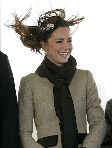 Kate Middleton's hair blows in the wind