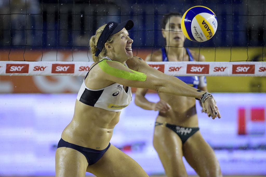 Kerri Walsh Jennings during Beach Volleyball World Tour Itapema in 2018    Alexandre Loureiro/Getty Images
