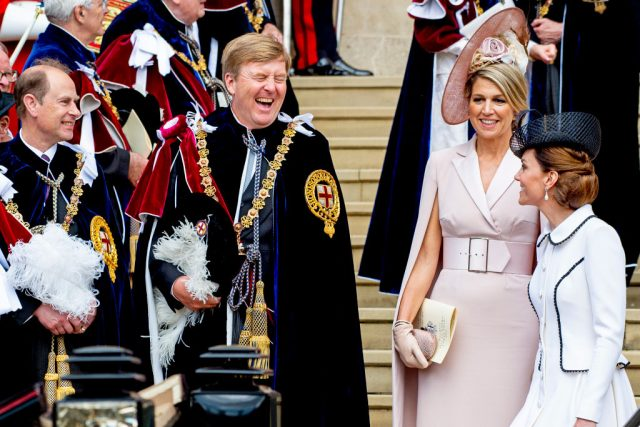 King Willem-Alexander of The Netherlands, Queen Maxima of The Netherlands, and Kate Middleton at the Order of the Garter service in 2019