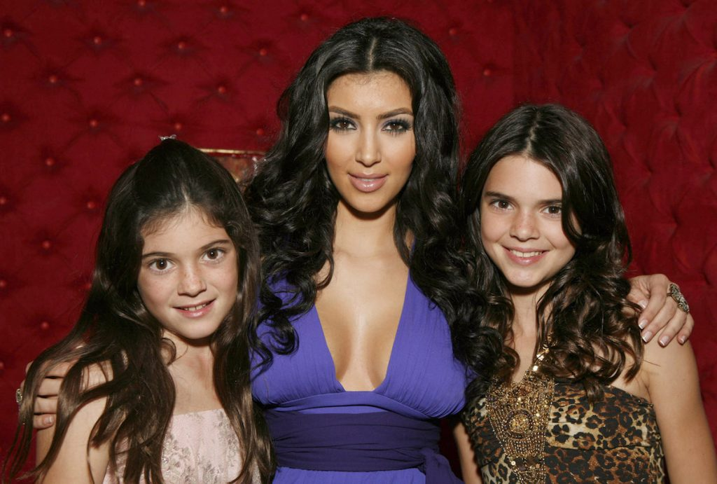 Kylie and Kendall Jenner with big sister Kim Kardashian West in 2007.