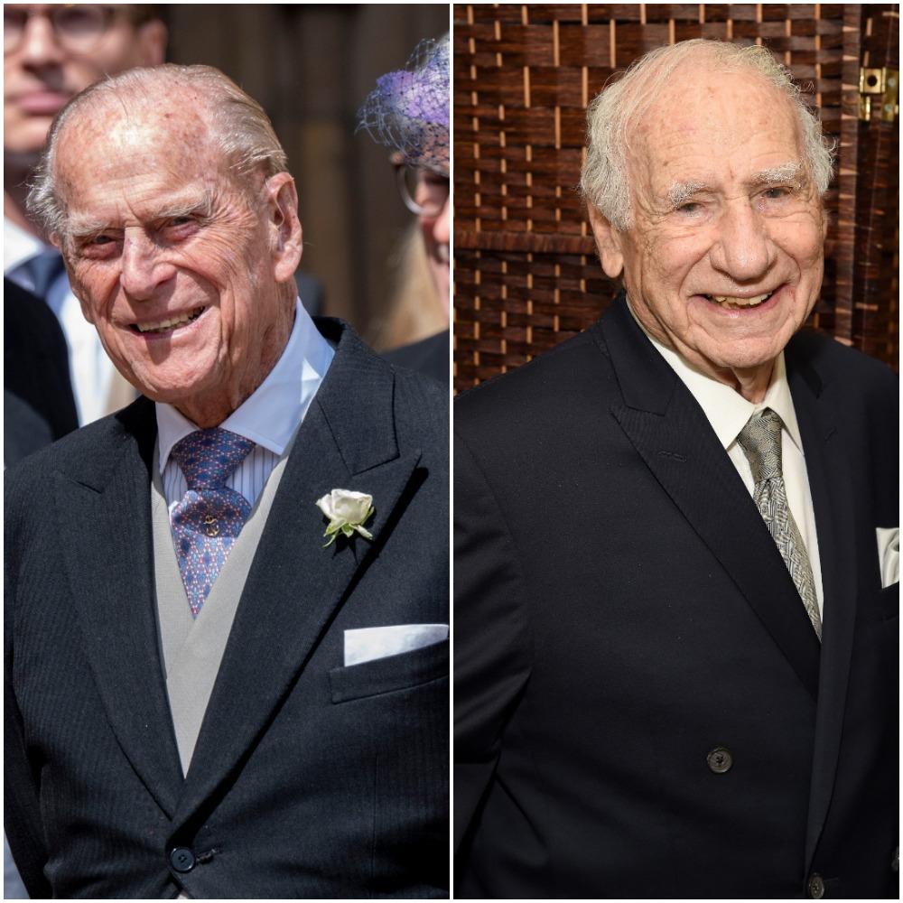 (L) Prince Philip, (R) Mel Brooks