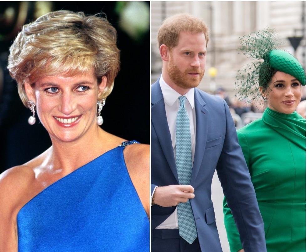 (L) Princess Diana, (R) Prince Harry and Meghan Markle