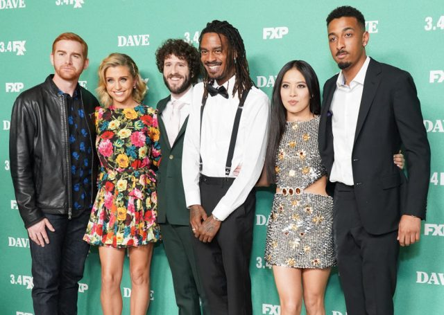 "Andrew Santino, Taylor Misiak, Dave 'Lil Dicky' Burd, Gata, Christine Ko and Travis ""Taco"" Bennett attend the premiere of FXX's 'Dave'"