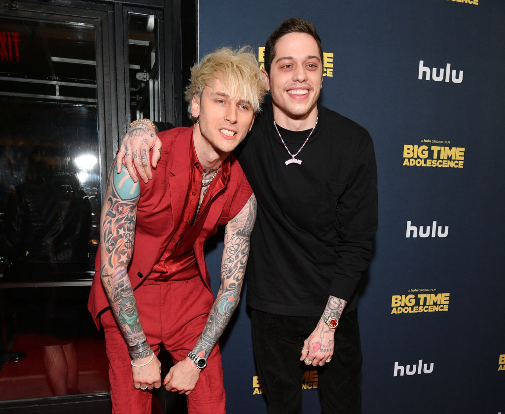 Colson Baker, aka Machine Gun Kelly, and Pete Davidson attend the premiere of 'Big Time Adolescence'