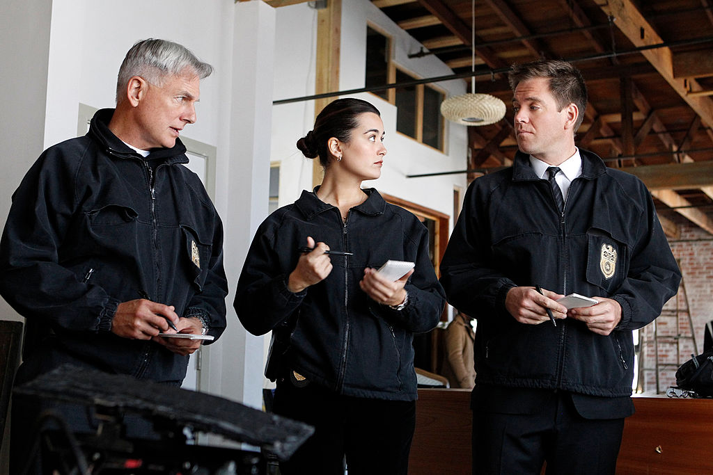 Mark Harmon, Cote de Pablo, and Michael Weatherly on the set of NCIS | Sonja Flemming/CBS via Getty Images