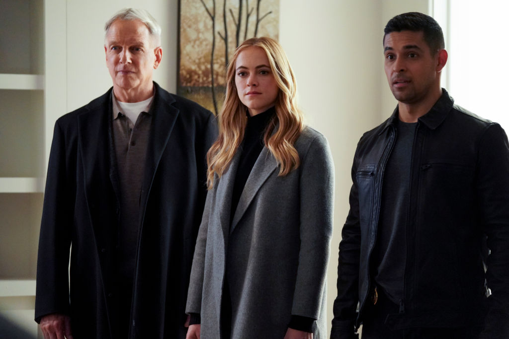 Mark Harmon, Emily Wickersham, and Wilmer Valderrama | Patrick McElhenney/CBS via Getty Images