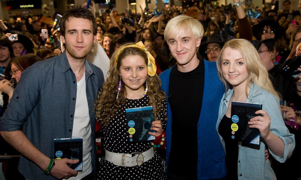 Actors of the Harry Potter Movies Matthew Lewis, Jessica Cave, Tom Felton, and Evanna Lynch
