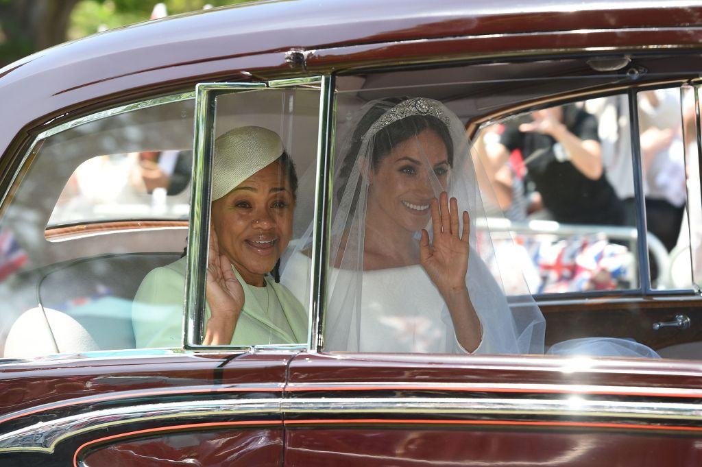 Meghan Markle (R) and her mother, Doria Ragland, arrive for her wedding ceremony to marry Britain's Prince Harry, Duke of Sussex, at St George's Chapel, Windsor Castle, in Windsor, on May 19, 2018
