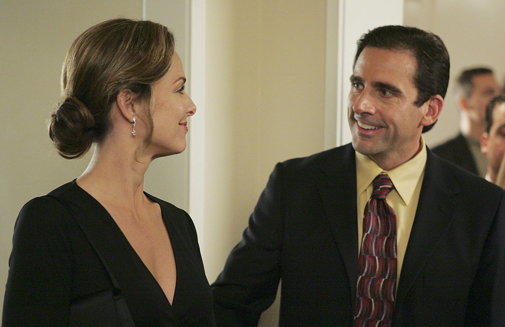 Melora Hardin and Steve Carell of 'The Office'