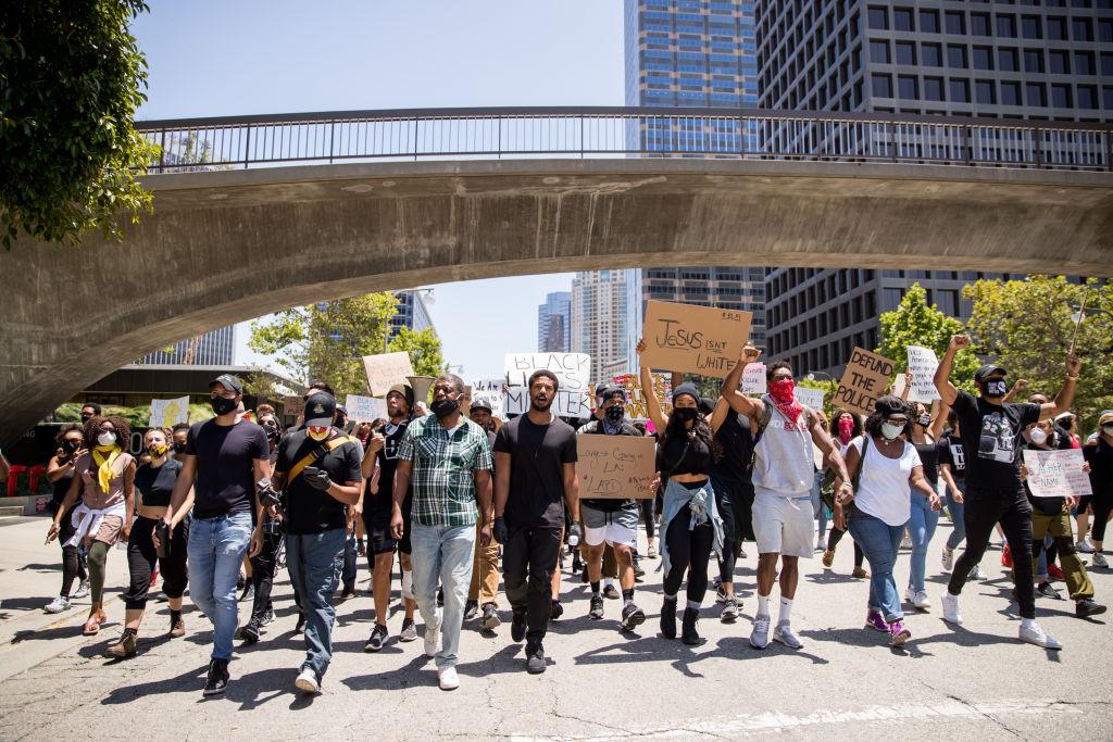 Police violence protest: Michael B. Jordan marching