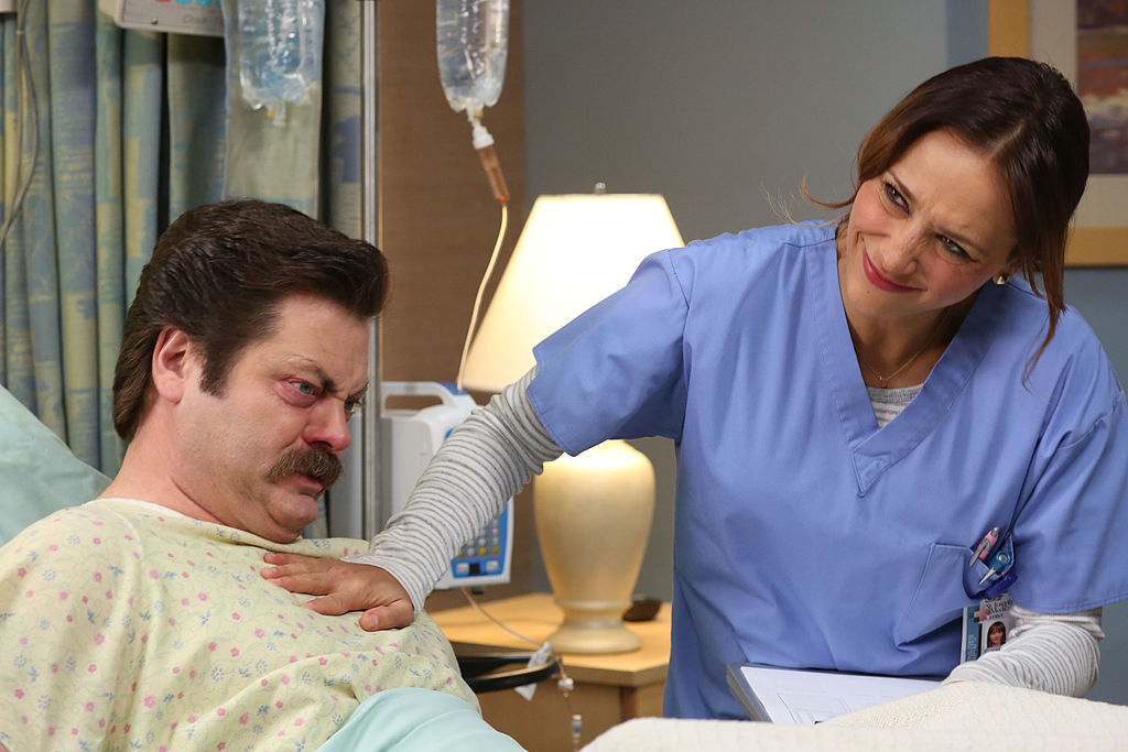 Parks and Recreation stars Nick Offerman and Rashida Jones as their characters