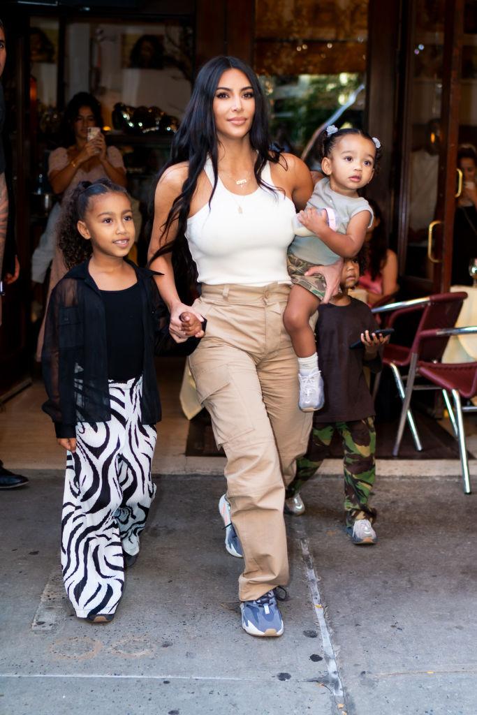 Kim Kardashian West with three of her kids