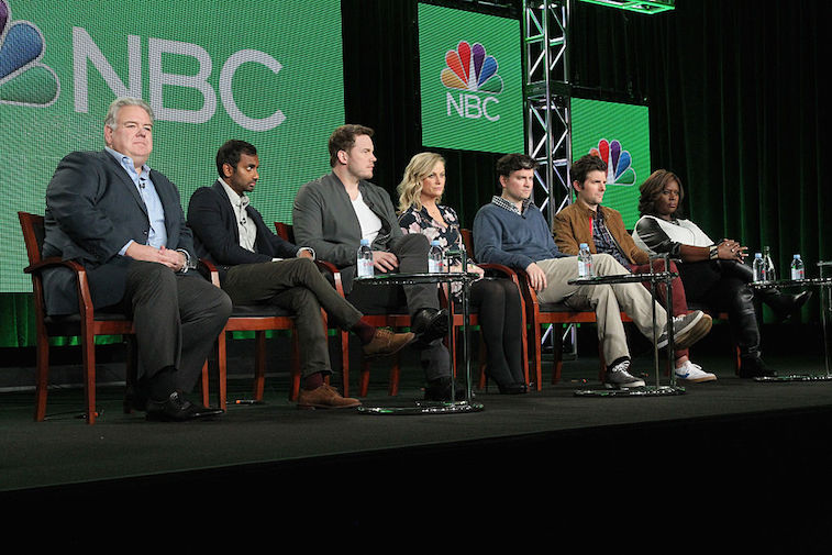 The 'Parks and Recreation' cast at a panel discussion in 2015