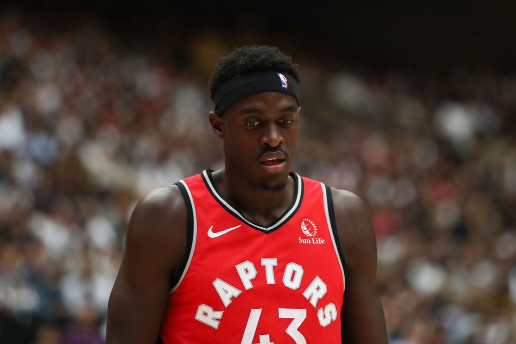 Pascal Siakam reacts during an NBA game