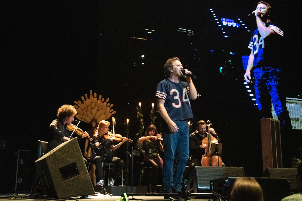 Eddie Vedder performs live on stage in front of the Red Limo String Quartet at Max-Schmeling-Halle on June 28, 2019