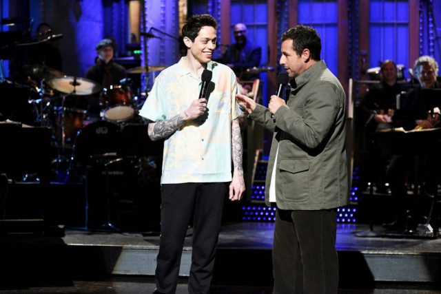 "Pete Davidson and host Adam Sandler during the ""I Was Fired"" Monologue on 'Saturday Night Live'"